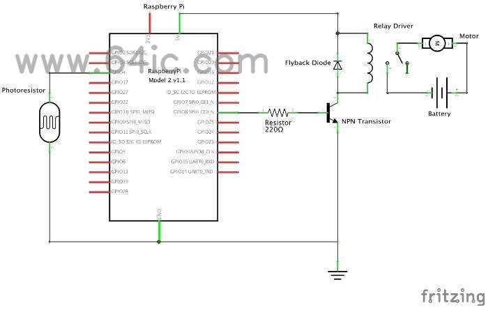 树莓派是一种嵌入式计算机,我们可以编程。python。多亏了树莓派教程,这个项目是基于(建立一个目标检测直流电机控制器。有了更多的细节,我很快就能做到了!首先,我们将讨论电路,然后继续编程。 这个树莓派猫玩具使用两个独立的电路:一个继电器驱动电路(我们使用一个)。Launchpad-Activated风机项目)和一个光敏电阻/LDR光检测电路(类似于我们的。激光二极管Tripwire项目)。正如你所知道的,光敏电阻/LDR的电阻随光的强度而变化。  我们通过制造电阻来将照明转换成变化的电压。分压器。看起来