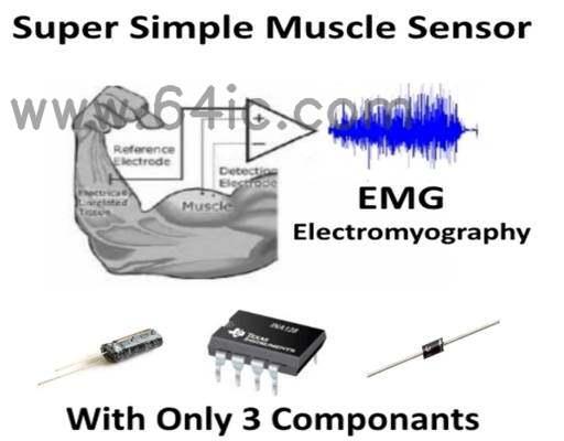 超级简单肌电(EMG)传感器。/